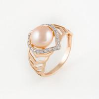 Золотое кольцо с жемчугом и фианитами ФЖ31213А3