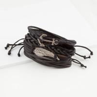 Бижутерный браслет мужской с кожей ЧДУ119