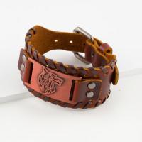 Бижутерный браслет мужской с кожей ЧДУ143
