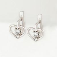 Серебряные серьги детские с фианитами 4МС371