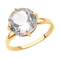 Золотое кольцо с хрусталем и фианитами ДИ716218