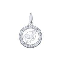 Серебряный знак зодиака «овен» с фианитами