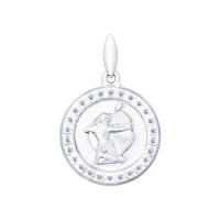 Серебряный знак зодиака «стрелец» с фианитами ДИ94031391