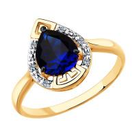 Золотое кольцо с бриллиантами и корундом сапфиром ДИ6012140
