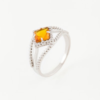 Серебряное кольцо с фианитами и цитринами ИТ11430-440-9