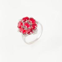 Серебряное кольцо с фианитами и гранатами синтами ИТ12141-409-9
