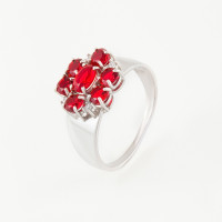Серебряное кольцо с фианитами и гранатами синтами ИТ12144-109-9