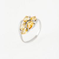 Серебряное кольцо с кварцем плавленым и фианитами РО1-1059Р-105квплцт
