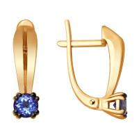 Золотые серьги с танзанитами ДИ6024115