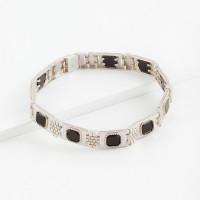 Серебряный браслет мужской с ониксами и фианитами РЫ4003850С