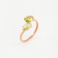 Золотое кольцо с хризолитами и фианитами ЮПК1349519хр