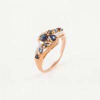 Золотое кольцо с сапфирами и бриллиантами РАК270109/6сп