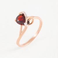 Золотое кольцо с гранатом и фианитами ЮПК1341042гр