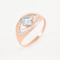 Золотое кольцо с топазом и фианитами ЮПК1346635тг