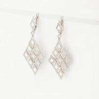 Серебряные серьги подвесные с фианитами ЗК0201014-00775