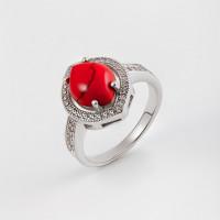 Серебряное кольцо с кораллами и фианитами СЫ21КСПМИ0111719
