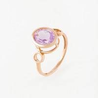 Золотое кольцо с аметистом НЮ10200010580ам