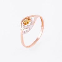 Золотое кольцо с цитриным и фианитами