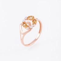 Золотое кольцо с цитринами и фианитами