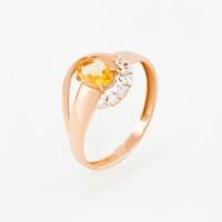 Золотое кольцо с цитриным и фианитами ЮПК13412231цт