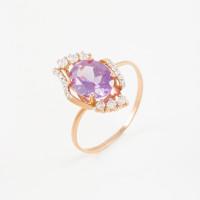 Золотое кольцо с ситаллами александритами и фианитами 2БКЗ5К.1-15-0419
