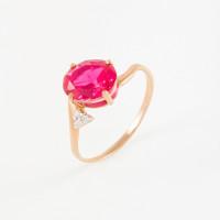 Золотое кольцо с корундами и фианитами 2БКЗ5К.1-18-1152-03
