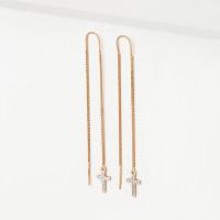 Золотые серьги протяжки с фианитами 2Т2915927Р
