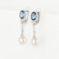 Серебряные серьги подвесные с жемчугом, фианитами и ситалом