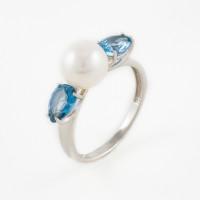 Серебряное кольцо с жемчугом и ситалом