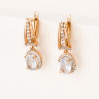 Золотые серьги подвесные с кварцем и фианитами 2БСЗ5К.1-13.93-0364-02