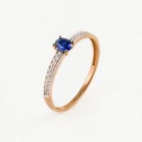 Золотое кольцо с сапфиром гт и бриллиантами