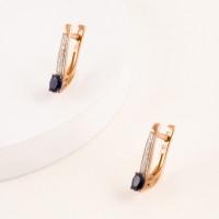 Золотые серьги с сапфирами гт и бриллиантами ЫЗ5-3261-106-2К-СапГт