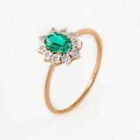 Золотое кольцо с изумрудом гт и бриллиантами ЫЗ5-4078-103И1-1К-ИзГт