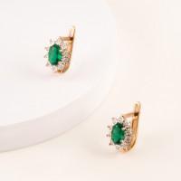 Золотые серьги с изумрудами гт и бриллиантами ЫЗ5-4078-103И1-2К-ИзГт