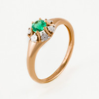 Золотое кольцо с изумрудом гт ЫЗ5-4080-103И5-1К-ИзГт