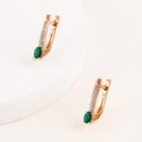 Золотые серьги с изумрудами гт и бриллиантами ЫЗ5-3261-103-2К-ИзГт