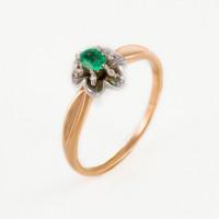 Золотое кольцо с изумрудом и бриллиантами ЫЗ5-3075-103-1К-Из