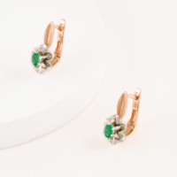 Золотые серьги с изумрудами и бриллиантами ЫЗ5-3075-103-2К-Из