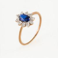 Золотое кольцо с сапфиром гт и бриллиантами ЫЗ5-4078-106И1-1К-СапГт