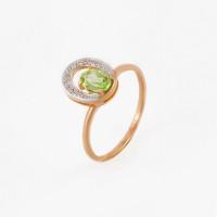 Золотое кольцо с хризолитом и фианитами НЮ102020191061хр