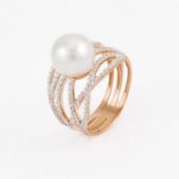 Золотое кольцо с жемчугом сваровски и сваровски ЮИК1426054
