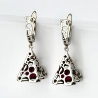 Серебряные серьги подвесные с янтарем