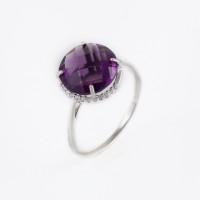 Серебряное кольцо с фианитами и аметистами гт