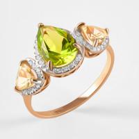 Золотое кольцо с ситаллом хризолитом, лимонным ситаллом и фианитами