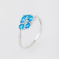 Серебряное кольцо с ювелирным стеклом и фианитами