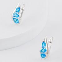 Серебряные серьги с фианитами и ювелирным стеклом КС20-01000Т