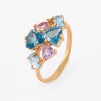 Золотое кольцо с аметистами и топазами