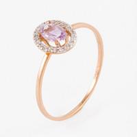 Золотое кольцо с аметистами и фианитами НЮ102020191761ам