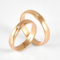 Золотое кольцо обручальное с бриллиантом СК0201852