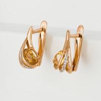 Золотые серьги с цитринами и фианитами